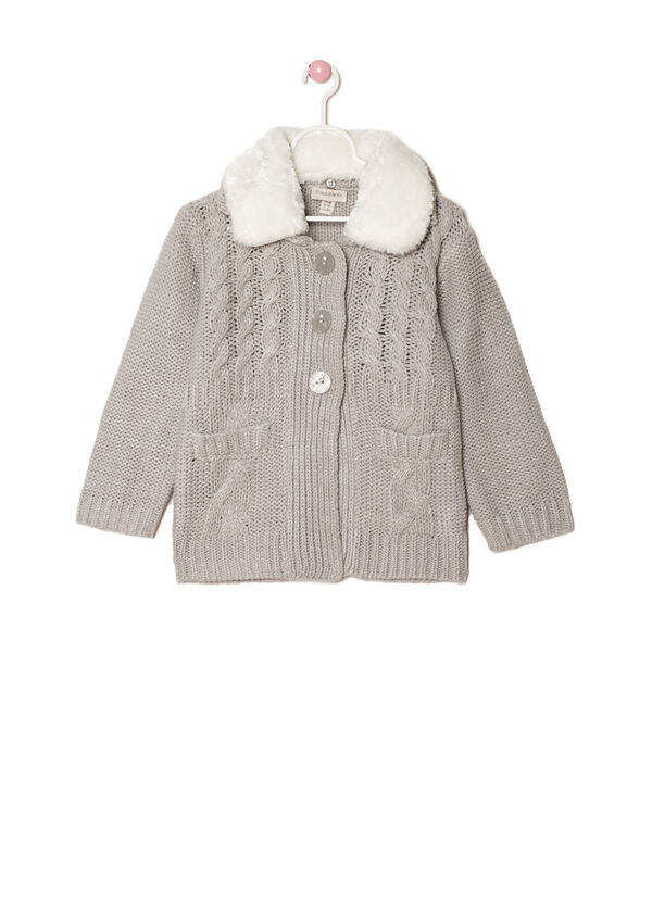 Knitted jacket with faux fur collar | OVS