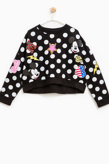 Polka dot sweatshirt with Mickey Mouse patches, Black, hi-res