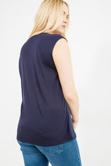 Curvy solid colour sleeveless blouse, Blue, hi-res