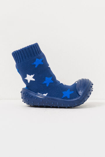 Sock slippers with star pattern, Navy Blue, hi-res