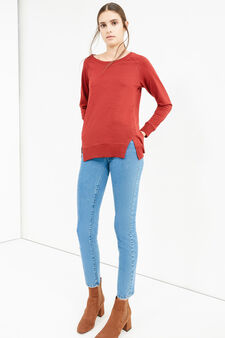 Solid colour T-shirt with side splits, Red, hi-res