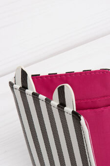 Striped pattern briefcase, White, hi-res