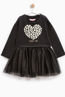 Dress with tulle and T-shirt, Black, hi-res