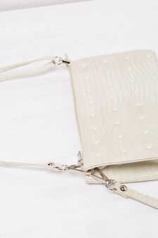 Snakeskin clutch bag with studs, White, hi-res