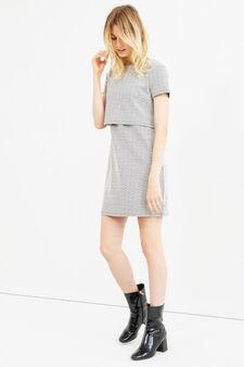 Stretch dress with geometric print, Black/White, hi-res