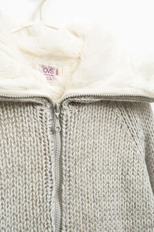 Knitted cardigan with fur, Grey, hi-res