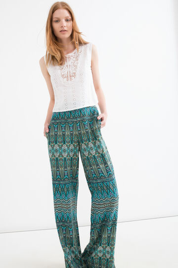 100% viscose patterned trousers, Green, hi-res