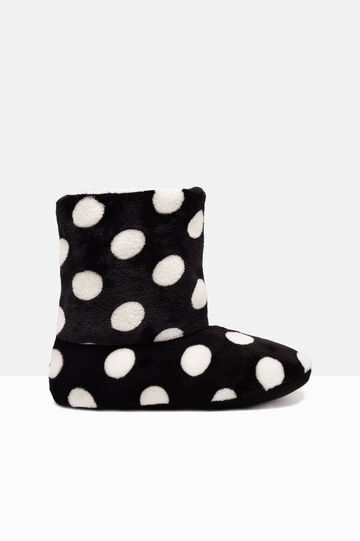 Polka dot slipper boots, White/Black, hi-res