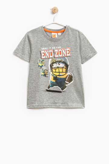 Cotton mélange T-shirt with Minions print, Dark Grey Marl, hi-res
