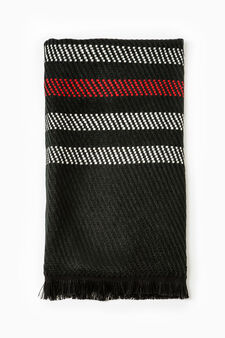 Solid colour knitted scarf with embroidery, Black/Red, hi-res