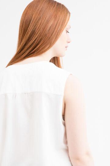 Blusa cotone smanicata Curvy, Bianco panna, hi-res
