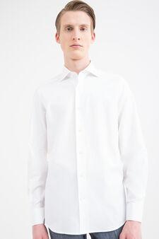 Solid colour slim fit cotton shirt, White, hi-res