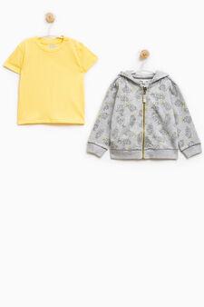 Completo cotone felpa e t-shirt, Grigio melange, hi-res