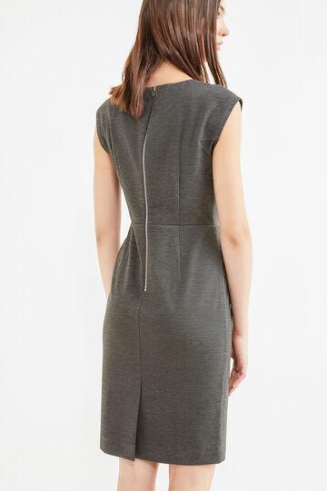 Sleeveless dress in stretch viscose, Grey Marl, hi-res