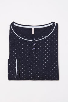 Curvy 100% cotton pyjama top, Navy Blue, hi-res