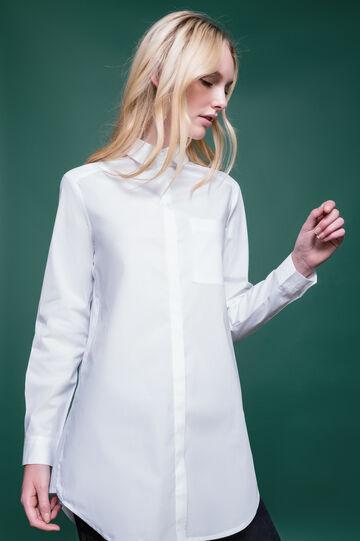 Camicia cotone stretch colletto classico, Bianco, hi-res