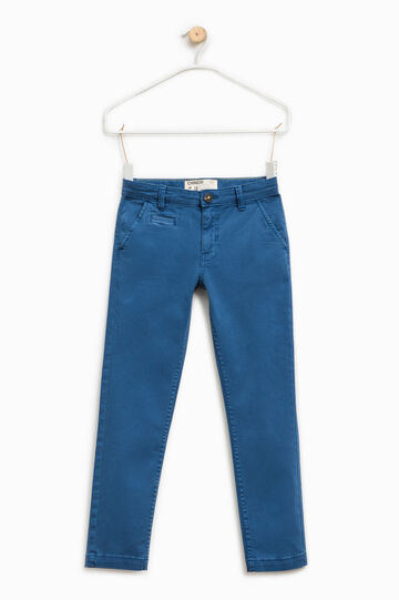 Chino trousers with micro check pattern, Blue, hi-res