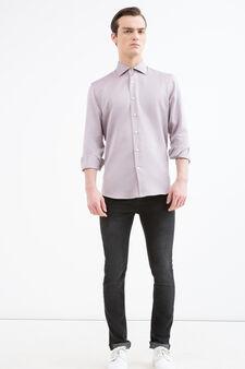 Camicia regular fit fantasia cotone, Rosso, hi-res