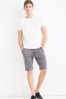 Solid colour 100% cotton Bermuda shorts, Dark Grey, hi-res
