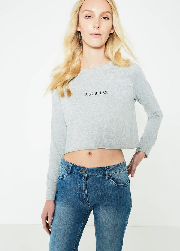 Crop sweatshirt with raw edges | OVS