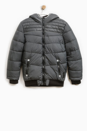 Solid colour quilted down jacket with zip, Grey, hi-res