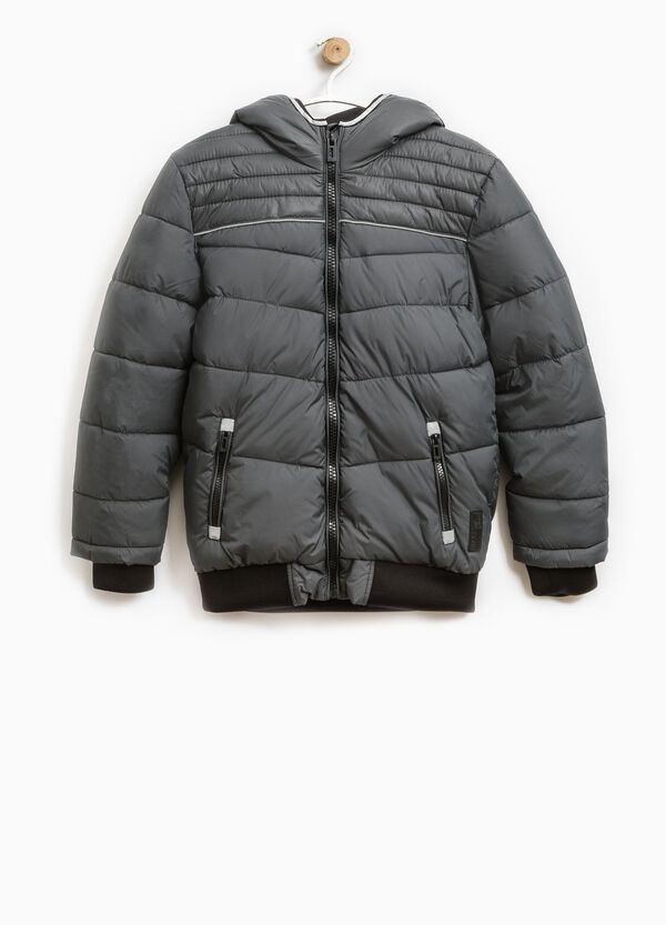 Solid colour quilted down jacket with zip | OVS