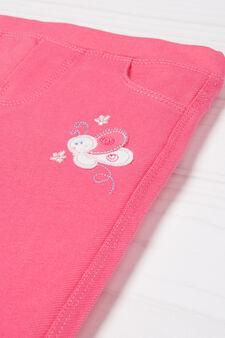 Jean-cut leggings in stretch cotton, Pink, hi-res