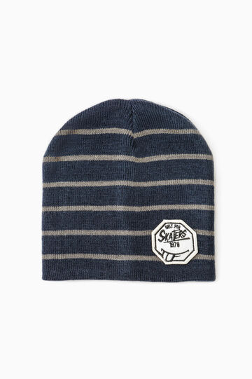 Striped beanie cap with patch, Grey/Blue, hi-res