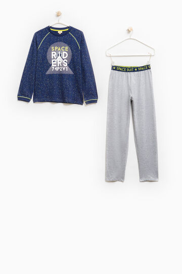 Cotton pyjamas with long raglan sleeves, Blue/Grey, hi-res