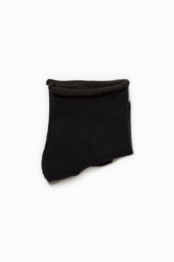 Solid colour stretch cotton short socks, Navy Blue, hi-res
