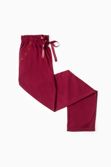 Viscose pyjama bottoms with lace, Dark Red, hi-res
