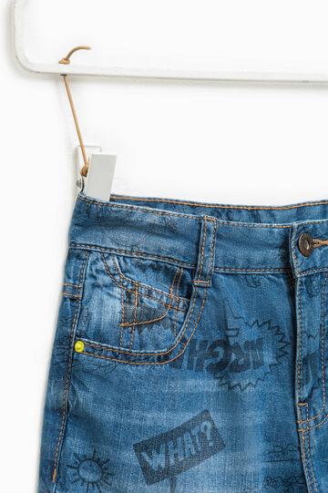 Patterned denim Bermuda shorts, Blue, hi-res