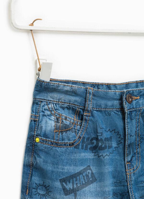 Patterned denim Bermuda shorts | OVS