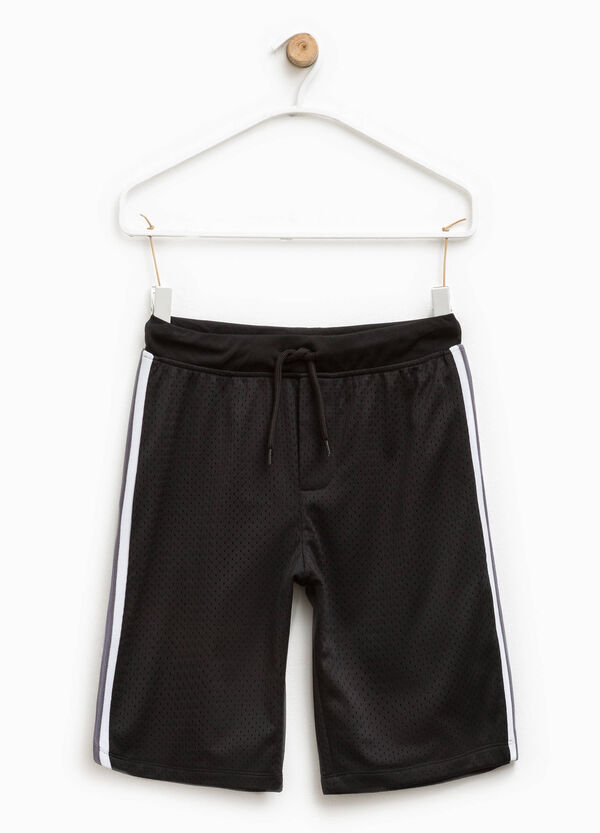 Openwork Bermuda shorts with bands on the sides | OVS