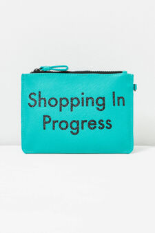 Glitter lettering print pencil case, Aqua Blue, hi-res