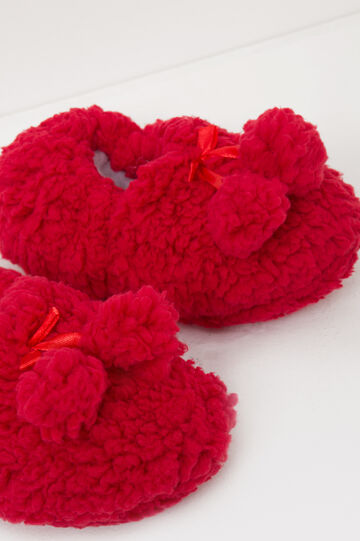 Slippers with bow and pompom, Red, hi-res