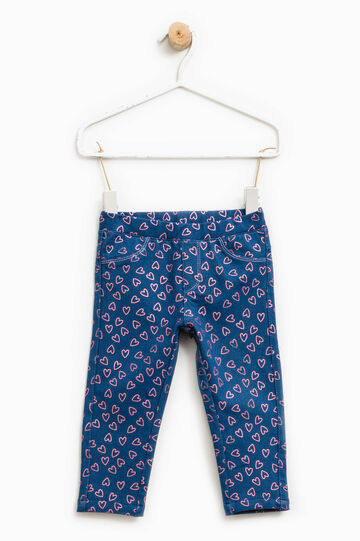 Patterned stretch jeggings, Blue/Pink, hi-res