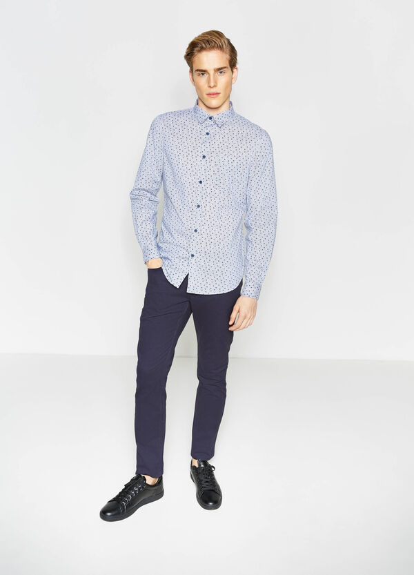 Slim-fit, patterned cotton casual shirt | OVS