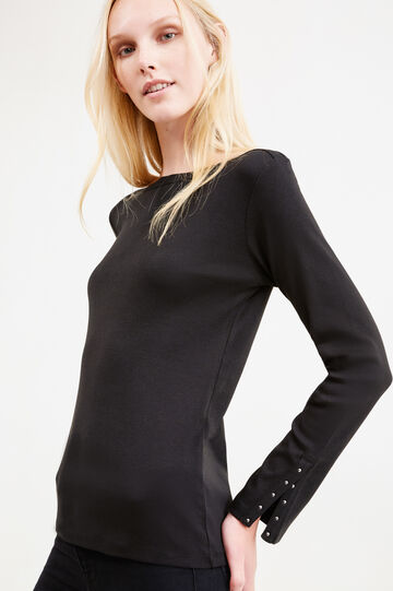T-shirt with studs and split cuffs, Black, hi-res