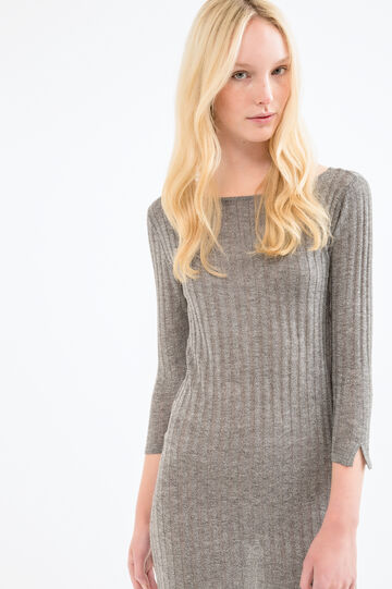 Viscose blend ribbed dress, Grey, hi-res