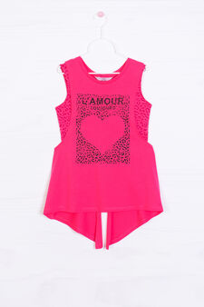 Top and vest set with print, Cherry Red, hi-res