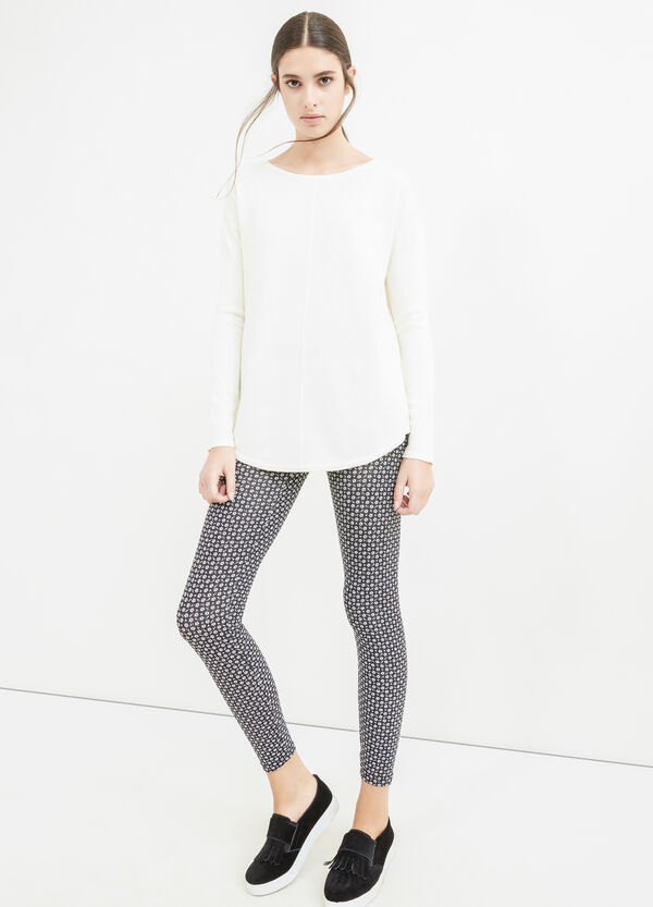 Stretch cotton leggings with all-over print   OVS