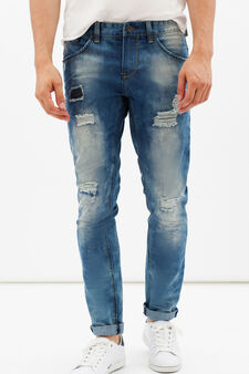 Slim fit jeans with rips and stitching, Light Wash, hi-res
