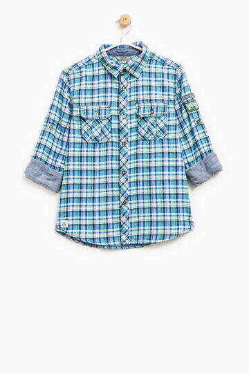 Tartan shirt in 100% cotton, Blue/Green, hi-res