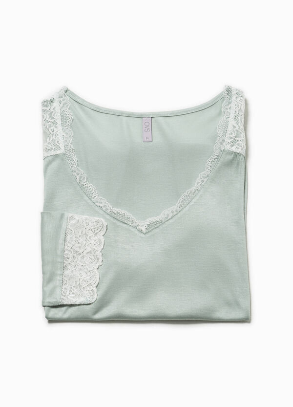 Pyjama top with lace | OVS