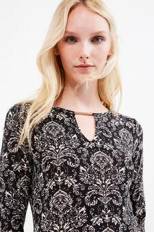 Patterned stretch dress with V-neck, Multicolour, hi-res
