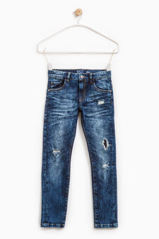 Worn-effect jeans with whiskering and fading., Blue, hi-res