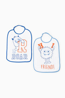 Two-pack printed cotton bibs, White/Light Blue, hi-res