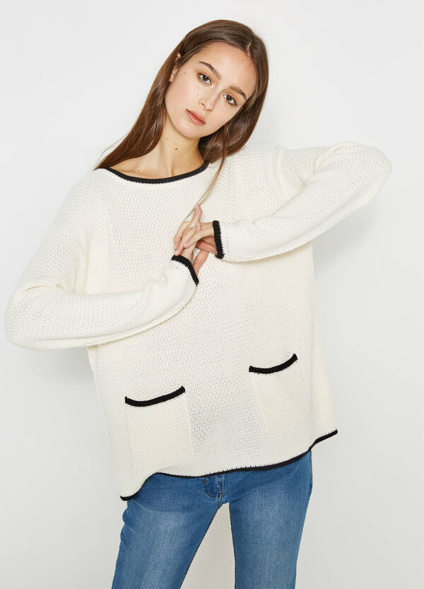 Pullover tricot con profili a contrasto | OVS