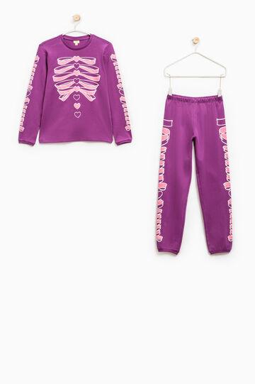 Printed pyjamas in 100% cotton, Purple, hi-res